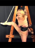 Blonde amateur subbie girl in strict rope bondage